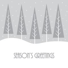 winter season's greetings with christmas tree