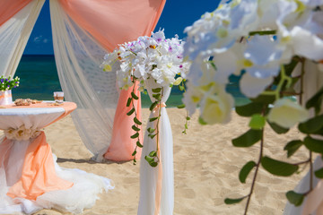 Decorations for a wedding in the beach