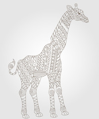Illustration of abstract contour of a giraffe on white background