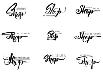 Shop word for signage, stickers, badges, has written calligraphic tools and modified to simple forms