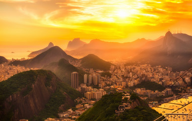 Sunset view of Botafogo, mountain Corcovado and Christ the Redeemer  in Rio de Janeiro. Brazil