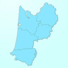 Aquitaine blue map on degraded background vector