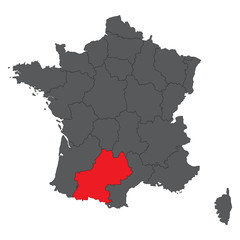 Midi-Pyrenees red on gray France map vector