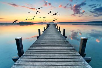Letni poranek am See, Badesteg in morgendlicher Quiet