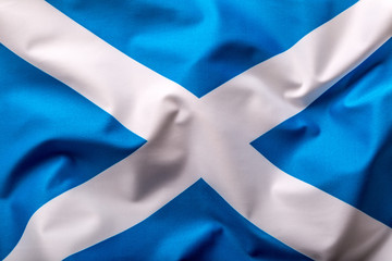 Scotland flag. Scottish flag of fabric blowing in the wind..
