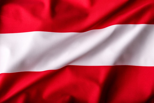 Austria flag waving in the wind.
