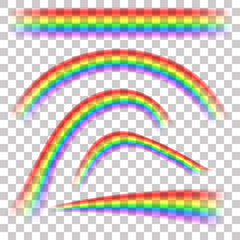 Rainbows in different shape realistic set on transparent background