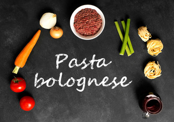 Ingredients of pasta with bolognese sauce