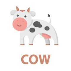 Cow icon cartoon. Single bio, eco, organic product icon from the big milk set - stock vector