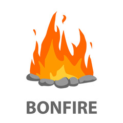 Bonfire icon cartoon. Singe western icon from the wild west set - stock vector