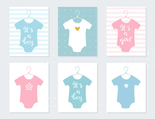 Babies Bodysuits Clothes on Hangers. Baby Announcement Cards. It's a Boy. It's a Girl. Hand Lettering Signs