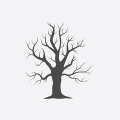 Old tree vector icon in black simple style for web