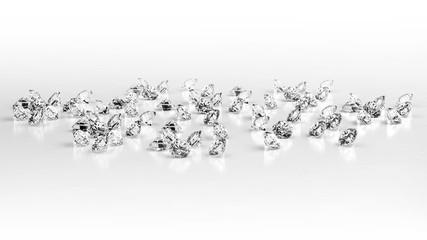 Group of Diamonds isolated on white background, 3d illustration.