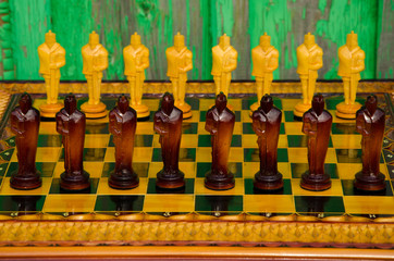 Chess board. wooden figures
