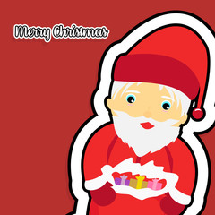 Flat Merry Christmas banner. Flat Santa Claus. Flat red color background