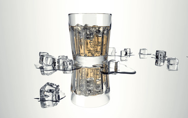 glass with wiskey and ice isolated on white