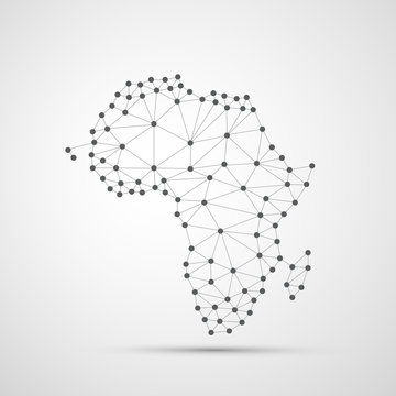 Transparent Abstract Polygonal Map of Africa, Digital Network Connections, Technology Background, Creative Design Template