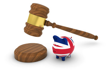 UK Financial Law Concept - Judge's Gavel with British Flag Piggy Bank 3D Illustration