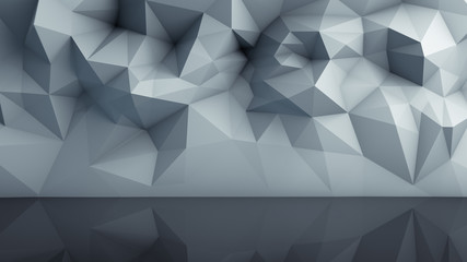Polygonal surface with reflection 3D render Wall mural