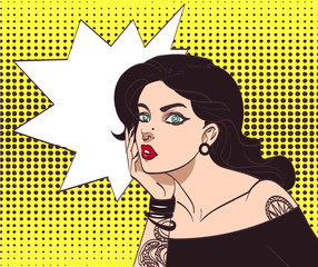Vector beautiful gothic punk hipster girl in pop art style with tatoo and speech wow bubble. Eps 10 in many layers for your need