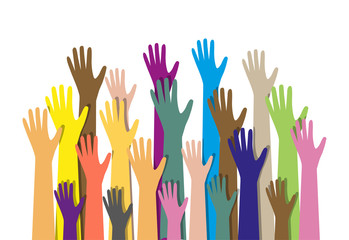 hands different colors. cultural ethnic diversity