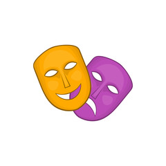 Comedy and tragedy theatrical masks icon in cartoon style on a white background