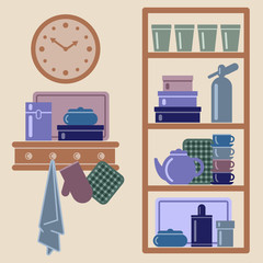 Vector illustration with kitchen shelves and cooking utensils.