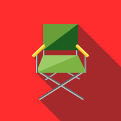 Cinema director chair icon in flat style on a red background