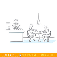 People in cafe. Editable vector graphic in linear style.