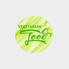 Vegetarian food - labels, stickers, hand lettering, was written with the help of calligraphy skills and collected templates using typographic rules