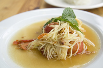papaya salad somtum thai asian cuisine vegetable