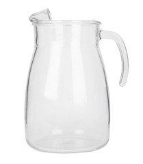 An empty glass jug isolated on a white background