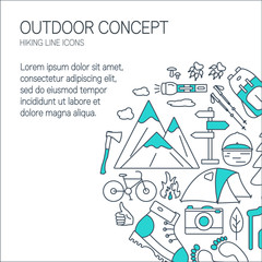 Outdoor concept with place for text. Travel and camping linear icons in round shape. Summer tourism items.  Can be used for flyers, cards, banners or web. Design elements with open paths.