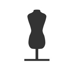Fashion stand, female torso mannequin icon. Tailor mannequin. Dummy mannequin. Simple flat logo of mannequin isolated on white background. Vector illustration.