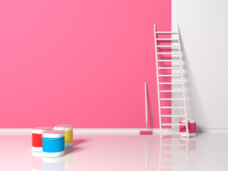 Repair in the room or apartment. Light pink painted wall, closed and open cans of different color painting, white staircase and paint roller in indoor interior with a reflective floor. 3d illustration