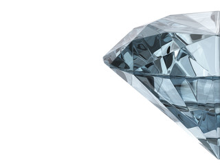 Half diamond  isolated on white background with copy space, 3d illustration.