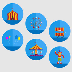 carnival tent, balloon,cart,clown,carousel and Ferris wheel in cartoon illustration.