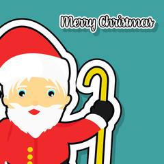 Flat Santa Claus holding a stick and Merry Christmas banner on green background