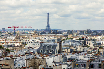 PARIS, FRANCE, on JULY 6, 2016. City panorama. View from survey gallery of the Centre Georges Pompidou