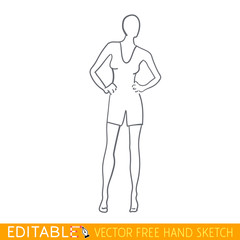 Fashion mannequin icon. Editable vector graphic in linear style.