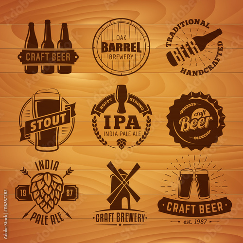 quotset of vector craft beer logos and badges retro beer