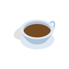 Cup of tea icon in isometric 3d style isolated on white background. Drinks symbol