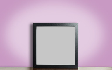 Think black photo frame on pink background