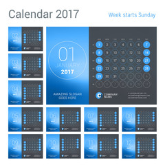 Desk Calendar for 2017 Year. Vector Design Print Template with Place for Photo. Week Starts Sunday. Calendar Grid with Week Numbers