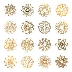 Set of gold mandalas. Geometric circle element made for yoga, India, Arabic design