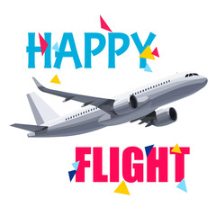Flying Airplane with Happy Flight Header. Wishes For a Good Trip.Concept For Travel Company Banner, Poster,Voucher,Ticket,Magazine.