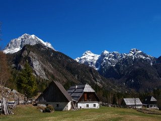 Fototapete - Traditional Alpine farmhouses in the mountains