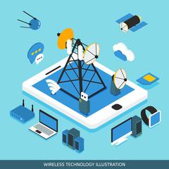 Wireless Technology Isometric Design