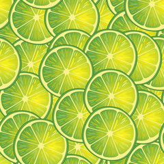 Vector illustration of lime slices. Pattern.