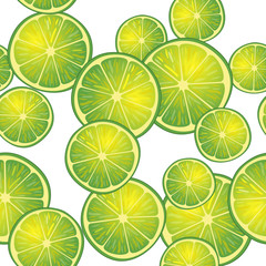 Vector illustration of lime slices in different angles. Pattern.